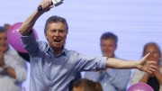 Mauricio Macri, presidential candidate of the Cambiemos coalition, waves to his supporters after the presidential election in Buenos Aires, Argentina