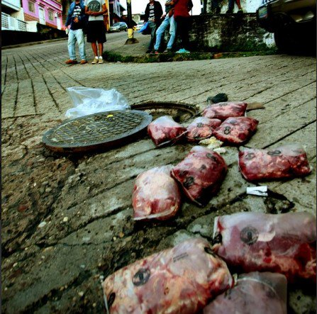 Encuentran carne en una cloaca del estado Táchira 2