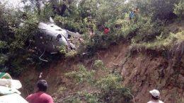 helicóptero caído cuando enviaba ayuda a Oaxaca